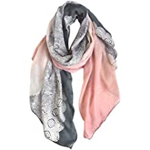 GERINLY Cozy Lightweight Scarves: Fashion Lace Print Shawl Wrap For Women (Grey+LightPink)