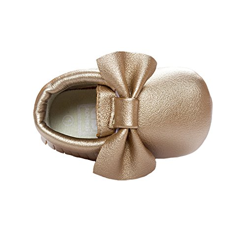 Vanbuy Baby Soft Sole Leather Shoes Boys Girls Cute Bow Tassel Moccasins Infant Toddler Crib Shoes