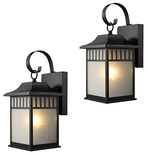 Twin Pack - Designers Impressions 73477 Oil Rubbed Bronze Outdoor Patio/Porch Wall Mount Exterior Lighting Lantern Fixtures with Frosted Glass