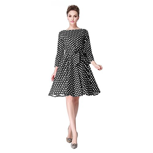 Heroecol 50s 60s Hepburn 3/4 Sleeve Style Vintage Retro Swing Rockailly Dresses Size L Color Black With (60s Wedding Dress Costume)
