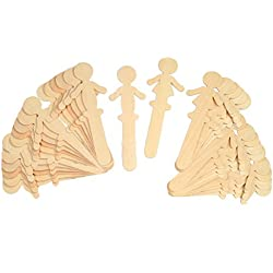 """Chenille Kraft CK-364502 People Shaped Wood Craft Sticks, 6.1"""" Wide, 5.7"""" Length, 1.4"""" Height (36 count)"""