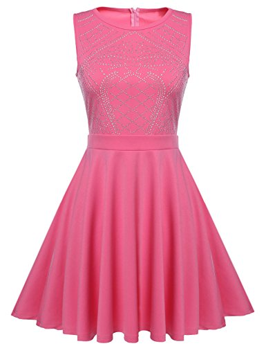- ELESOL Women Rhinestone Embellished Prom Gowns A Line Pleated Dresses Pink_L