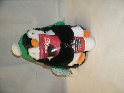 Waddles the Penguin Holding a Black Cherry Merlot Hand Cream-Great Gift (Penguin Merlot)