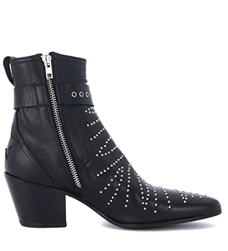 Mexicana Womens Black Leather Texan Ankle Boots With Studs and Ankle Strap Black rn0MkU