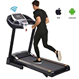 Miageek Fitness Folding Electric Jogging Treadmill with Smartphone APP Control, Walking Running Exercise Machine Incline Trainer Equipment Easy Assembly