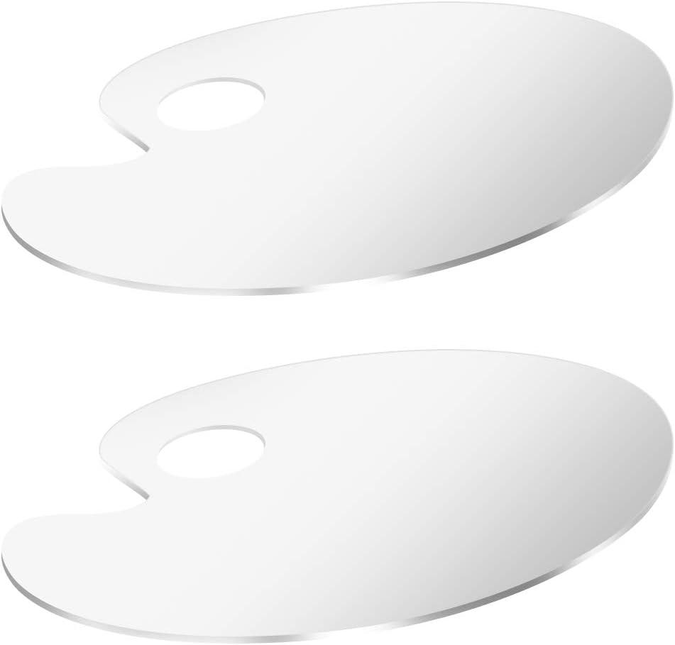 2 Pi/èces Acrylique transparent Palette de peinture 3 mm Palette Ovale Transparente en Plastique avec Trou pour /étudiants Enseignants Artistes Peinture Acrylique Passionn/és de Commerce