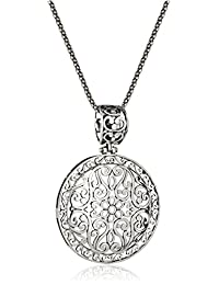 Sterling Silver Bali Filigree Round Pendant Necklace, 18""