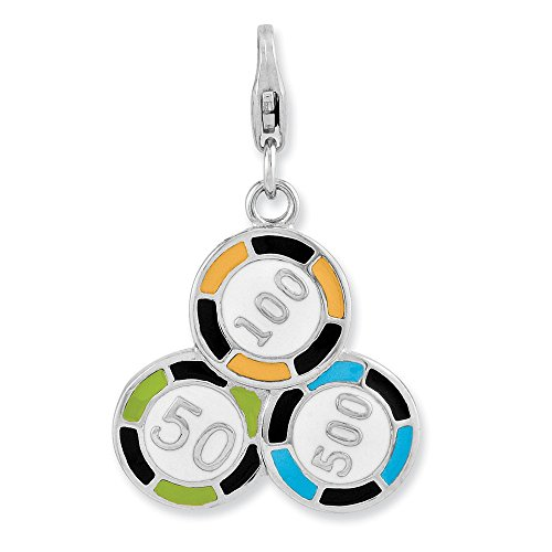 925 Sterling Silver Rh Enameled Casino Chips Lobster Clasp Pendant Charm Necklace Gambling Fine Jewelry Gifts For Women For Her ()