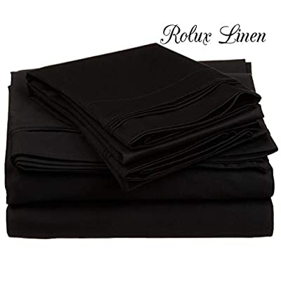 Rolux linen Queen Sleeper Sofa Bed Sheet Set - Color Solid 100% Cotton 800 Thread Count Fit Deep