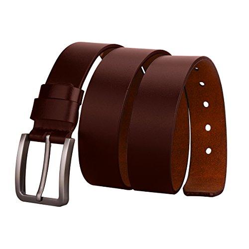 2f1635d917af2 MPTECK @ Marrón Hombres Cinturón de Cuero Correa Cinturones 110cm Diseñado para  caballero hombres Adulto cintura