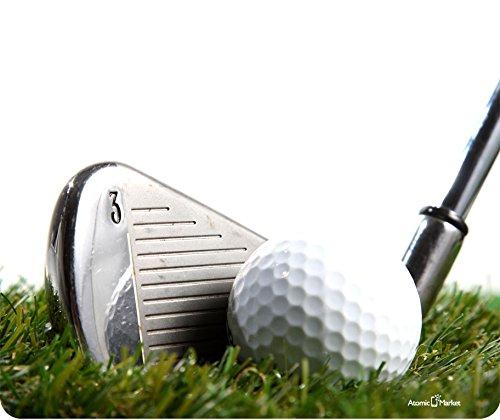 3 Iron Golf Club Hitting Golf Ball Mouse Pad by Atomic Market