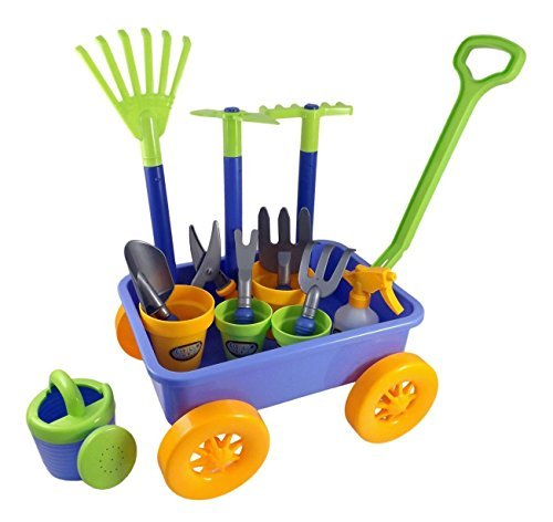 AMPERSAND SHOPS Kids Garden Wagon & Tools Play Set (Shop Gardening Equipment)