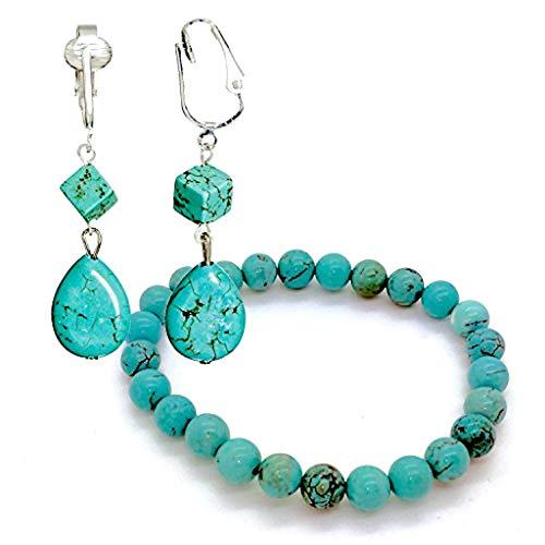 Trendy Turquoise Clip On Earrings for Women - Teardrop & Cube Clip-on Earrings w Pierced Look, Clip (Funky Teardrops/Bracelet Set)