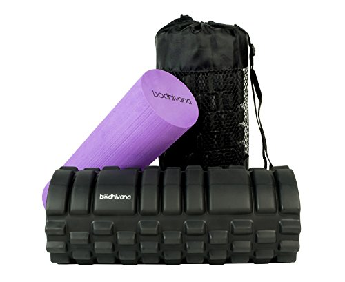 Bodhivana 2-in-1 Therapy Massage Foam Rollers for Muscles with Travel Bag, Instructional Video and 2 E-Books - Purple
