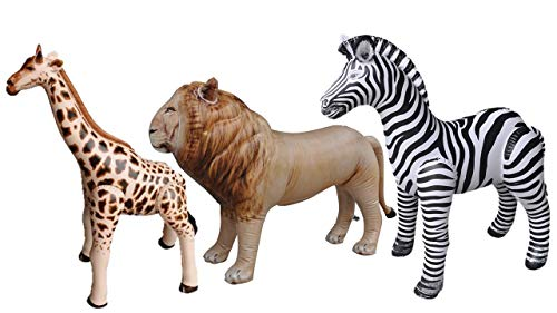 Blow Up Animals (Jet Creations 3 pack Giraffe Zebra Lion safari Great for pool, party decoration,)