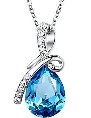 Eternal Love Teardrop Austrian Crystal Pendant Necklace - Ocean Blue