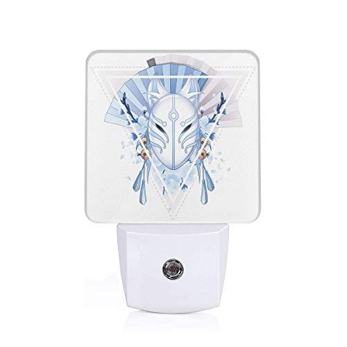 Xuforget Kabuki Mask Decoration Fox Mask Kitsune Japan Culture Energy Efficient LED Night Light with Auto Dusk to Dawn Sensor for Any Dark Room
