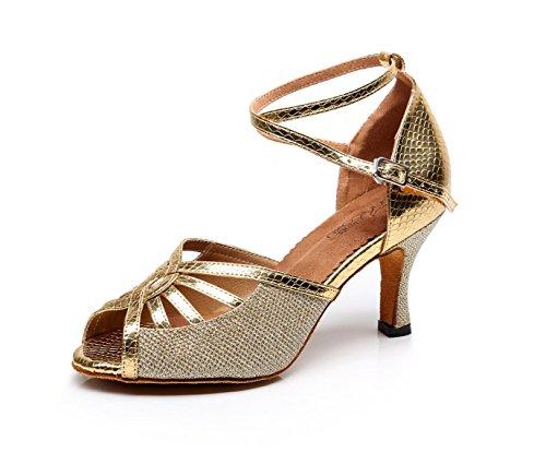 JSHOE Zapatos De Baile Latino Para Mujer Salsa / Tango / Chacha / Samba / Modern / Jazz Dance Sandals Tacones Altos,Gold-heeled7.5cm-UK6/EU39/Our40