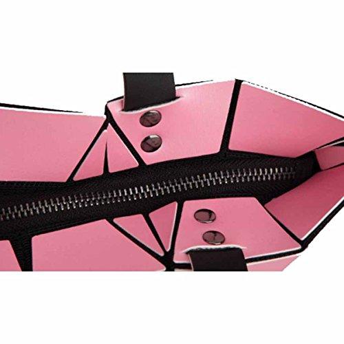 Bolso Geométrico De Las Mujeres Bolso De Gran Volumen Cepillado Mate De Las Mujeres,Silver Pink