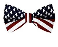 PBT-FLAG - Red - White - Blue - American Flag Pre Tied Bow Tie