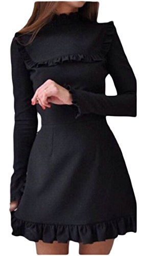 Sleeve Crewneck Short Solid Summer Black Jaycargogo Womens Long Ruffle Dress w6HPSFXq