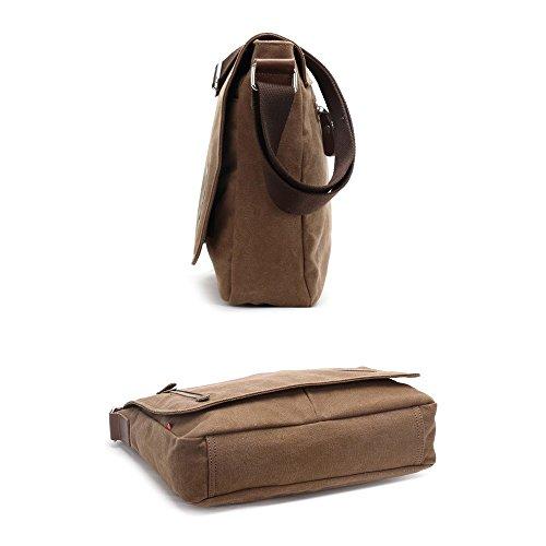VRIKOO Casual Canvas Satchel Messenger Bag Working Shoulder Crossbody Book Bags for Men and Women (Black) Café