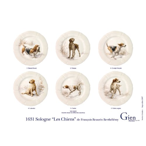 GIEN - French Luxury Sologne Earthenware White and Beige Hunting Dog Assorted Dessert Plates Box Set of 6