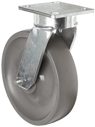 RWM Casters 65 Series Plate Caster, Swivel, Kingpinless, Elastomer Wheel