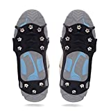 Traction Cleats Anti Slip Ice Cleats Crampons, 10 Teeth Stainless Steel Spikes Durable