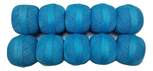 (Sky Blue - LOT Set of 10-100% Cotton Mercer Yarn Thread - Crochet Lace Knitting Embroidery - DESI HAWKER)