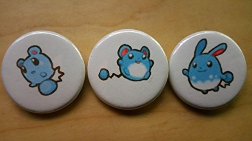 5x Pokemon Collectible 1'' inch Buttons - Azuril Maril Azumaril Evolution Set - Custom Made - Pin Back - Gift Party Favor by Legacy Pin Collection