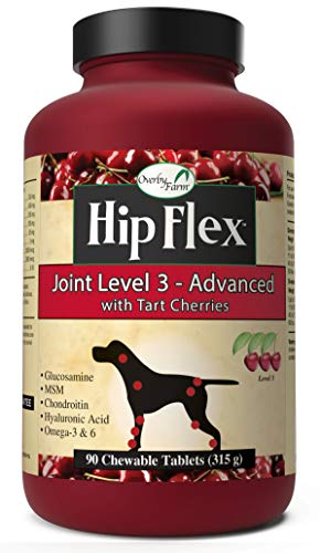 NaturVet - Overby Farm Hip Flex Joint Level 3 - Advanced Formula - Great for Joint Surgery Recovery & Senior Dogs - Enhanced with Glucosamine, MSM, Chondroitin, Omegas & More (90 Tablets)