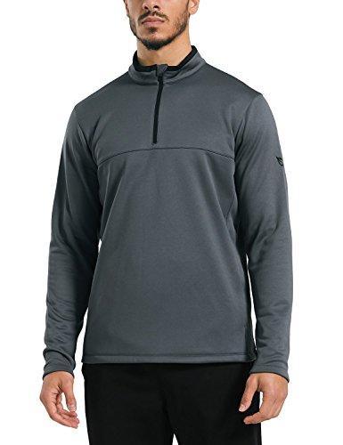 1/4 Thermal Zip (Baleaf Men's 1/4 Zip Pullover Thermal Fleece Sweatshirts Outdoor Long Sleeve Jacket Grey Size XXL)