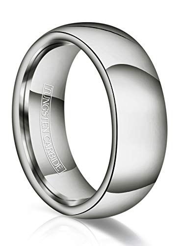 (Just Lsy 8mm Tungsten Wedding Band Ring Men Women Plain Dome High Polished Comfort Fit Size 6.5)