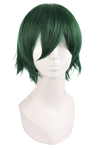 MapofBeauty Men's Short Straight Wig Cosplay Costume Wig (Pine Green)