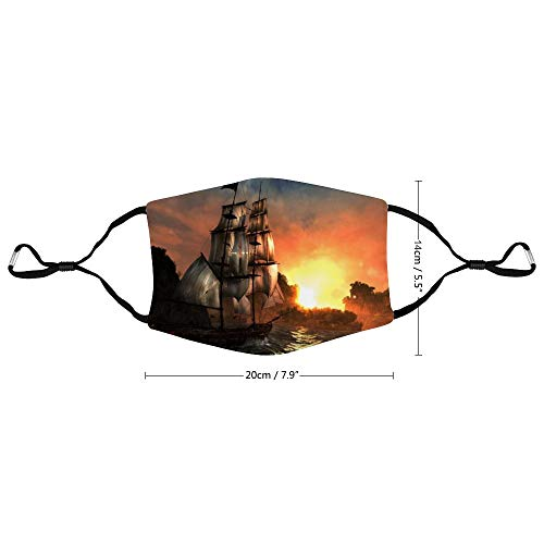 Black Flag Pirate Ship Unisex Adjustable Earloop Face Mask, Anti-dust Mouth Mask, Washable and Reusable Protection Mask