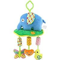 Baby Grow Newborn Infant Crib Rattles Bell Toy Cartoon Animal Toddler Bed Hanging Owl/Fish/Elephant Baby Plush Wind Chime Toys(Blue Elephant)