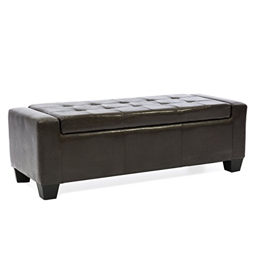 Best Choice Products Large Leather Rectangular Storage Ottoman (Dark Brown) (Leather Large Rectangular Ottoman)