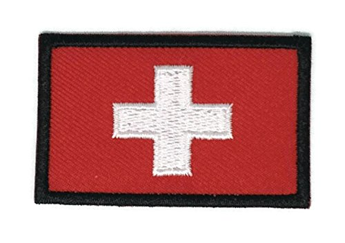 2 x 1.3 inches Switzerland Flag Patch Sew Iron on Embroidered Badge Symbol - In Switzerland Online Shopping