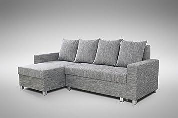 Schlafsofa Sofa Couch Ecksofa Eckcouch Hellgrau Schlaffunktion