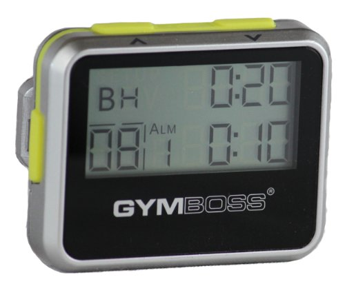 Gymboss Interval Timer and Stopwatch - SILVER / YELLOW METALLIC (Train Chime Clock)