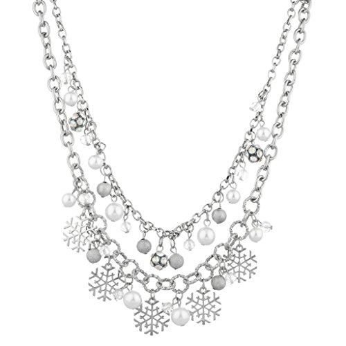 Lux Accessories Christmas Snowflake Necklace product image