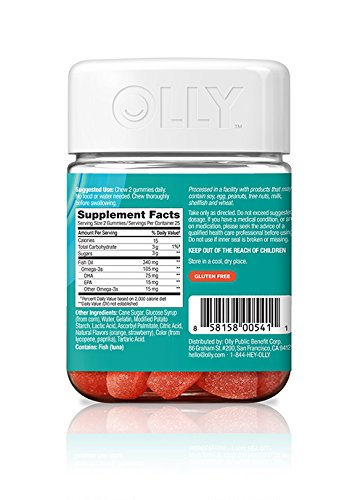 OLLY The Mega Omega-3 Gummy Supplements, Sweet Clementine, 50 Count