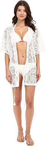 MICHAEL Michael Kors Women's La Vie Boheme Crochet Tunic Cover-Up White Swimsuit Top