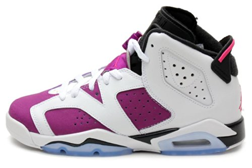 Jordan Gradeschool Girls Retro 6 (Gs) WHITE/BRIGHT GRAPE/BLACK/VIVID PINK 543390-127 4 by Jordan