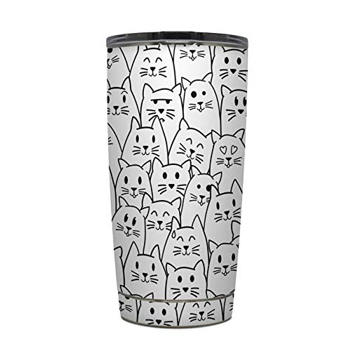 Moody Cats Protector Skin Sticker Compatible with Yeti Rambler 20 oz Tumbler - Ultra Thin Protective Vinyl Decal wrap ()
