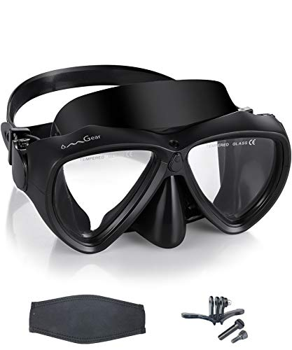OMGear Scuba Diving Mask Low Volume Frameless Snorkeling Mask Anti-Fog Leak-Free Premium Silicone Dive Goggles with Neoprene Mask Strap for Freediving Spearfishing Swimming (Black with Camera Mount)