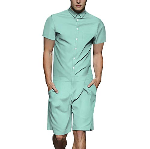Zimaes-Men Walkshorts Casual Solid Colored Short Sleeve Button Up Rompers Light Blue M