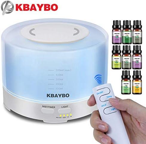 Diffusore telecomandato del pacchetto regalo KBAYBO con 8 pezzi di oli essenziali Umidificatore 7 LED e impostazione timer