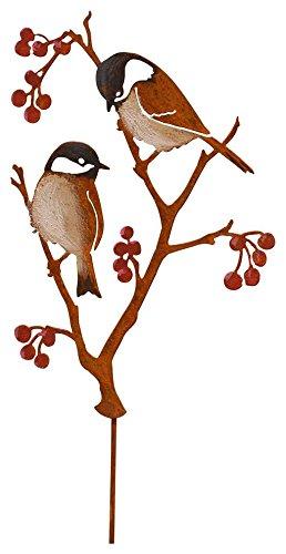 Elegant Garden Design Chickadees & Berries Stake - Painted ()